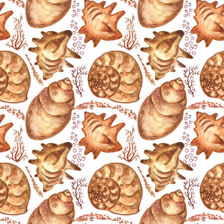 Marine background with seashells and corals. Watercolor seamless pattern. Perfect for creating fabrics, textile, decoupage, wallpapers, print, gift wrapping paper, invitations, textile, wedding Imagens