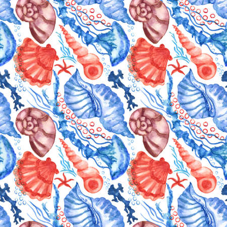 Watercolored seashells and starfishes seamless pattern. Illustration of shells and sea stars for for creating fabrics, textile, decoupage, wallpapers, print, gift wrapping paper, invitations, textile. Imagens