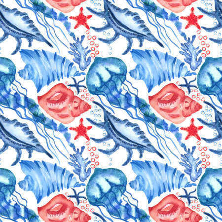 Watercolor seashells and starfish seamless pattern. Illustration of jellyfishes and sea stars for for creating fabrics, textile, decoupage, wallpapers, print, gift wrapping paper, invitations.
