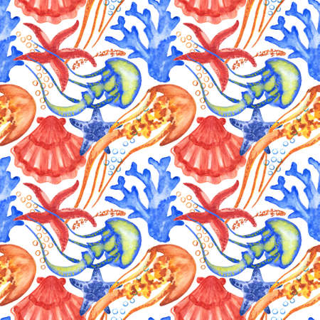 Watercolor seashells and starfish seamless pattern. Illustration of jellyfishes and sea stars for creating fabrics, textile, decoupage, wallpapers, print. Isolated on white background.