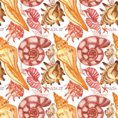 Marine background with seashells and corals. Watercolor seamless pattern. Perfect for creating fabrics, textile, decoupage, wallpapers. Isolated on white background.