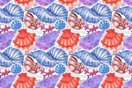 Marine background with seashells, starfishes and corals. Watercolor seamless pattern. Perfect for creating fabrics, textile, decoupage, wallpapers, print, gift wrapping paper, invitations, textile. Imagens