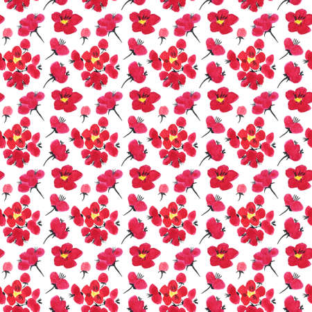 Seamless pattern of a sakura. Pink and red stylized flowers of plum mei and wild apricots. Watercolor and ink illustration in style sumi-e, u-sin. Oriental traditional painting.