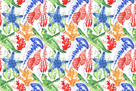 Marine background with sea turtle, shells, jellyfish and corals. Watercolor seamless pattern. Isolated on white background. Perfect for creating fabrics, textile, decoupage, wallpapers.