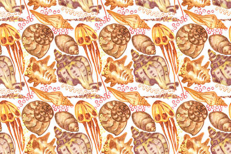 Marine background with seashells and jellyfish. Watercolor seamless pattern. Isolated on white background. Perfect for creating fabrics, textile, decoupage, wallpapers, print.