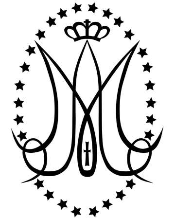 Ave Maria. Monogram of the Blessed Virgin Mary with crown, cross and stars. Religious signs. Vector design.