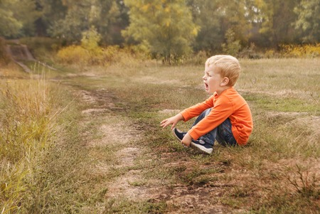 Little boy the kid in blue jeans crying bitterly, sitting on the ground. Copyspace Reklamní fotografie