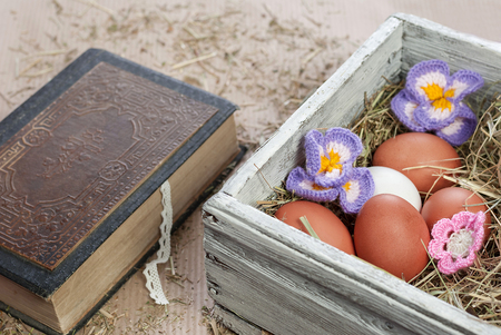 Easter eggs in vintage box. Easter decorations