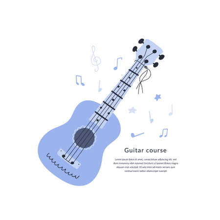 Vector illustration of guitar in cartoon flat style. Banner, template for music courses, schools and lessons with copy space.