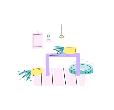 Concept illustration of robot vacuum cleaner slammed the table. House plants fell, mess damage. Trouble with smart gadgets. Vector flat hand drawn style.