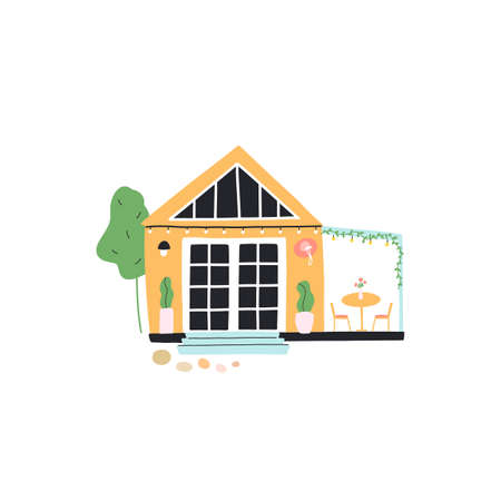 Tiny house with veranda, garden furniture, tree, small path from stones, a vine or ivy, plants in pots. Concept of downsizing compact living, life in nature. Vector hand drawn illustration.