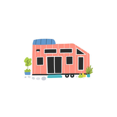 Tiny house on wheels with solar panel and little garden. Concept of downsizing compact living, modern life in nature. Vector hand drawn illustration.