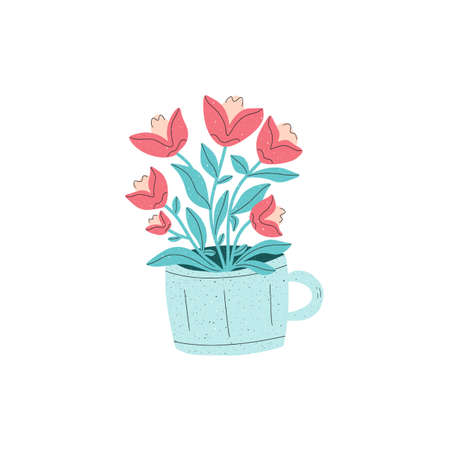 A mug with bouquet of red tulip flowers. Vector illustration with light texture, hand drawn flat style. 일러스트