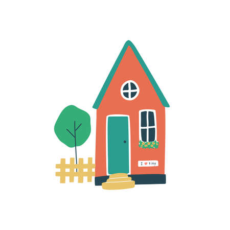 Cute tiny scandinavian house with fence, tree and flowers on the window. Downsized home, life in village. Vector hand drawn cartoon style.