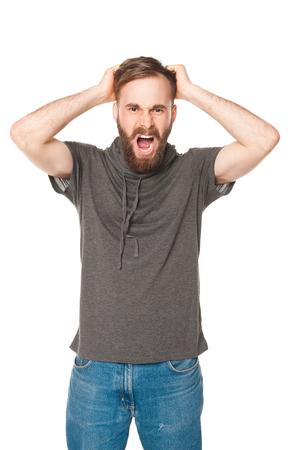 studio portrait man with beard Stock Photo