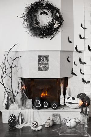 Fireplace decor. Ideas for Halloween. 스톡 콘텐츠