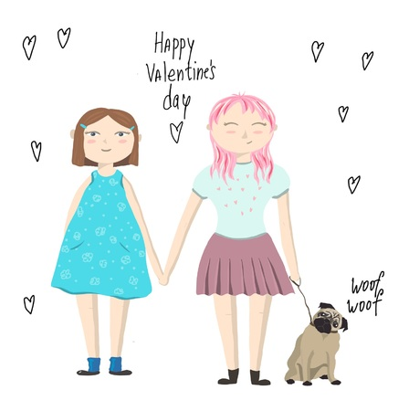 Valentines day card with girls and dog design