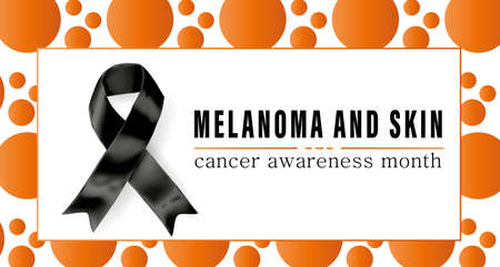 Vector illustration on the theme of Melanoma and skin cancer detection, prevention and awareness month of May. Symbol of the fight against melanoma cancer. Vektoros illusztráció