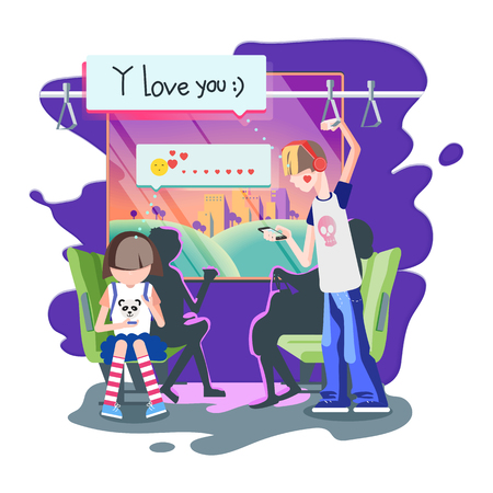 Colorful flat illustration represents situation in the public transport. The boy sends a love-message to a girl.