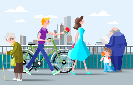 Romantic illustration for a meeting on the waterfront in the city. Man with a rose in hand and the bike. Stock Illustratie