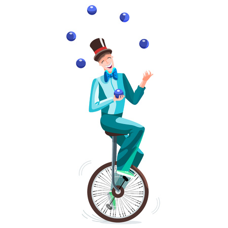 Juggler on a unicycle. Circus man in a cylinder juggles balls. Vector illustration. Vektorové ilustrace