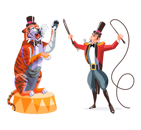 Circus animals tamer holding whip in one hand and tiger on a pedestal.