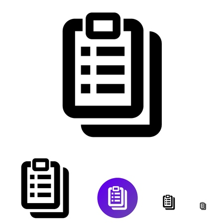 Clipboard icon for business, e-commerce. Vector line icon of different sizes 192px, 108px, 48px, 24px for web design and design of mobile applications.