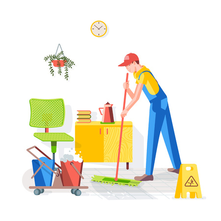 Cleaning of office. Cleaning the floor in the office. Worker wipes the floor with a mop on the background of the interior. Vector illustration in a flat style. Ilustração