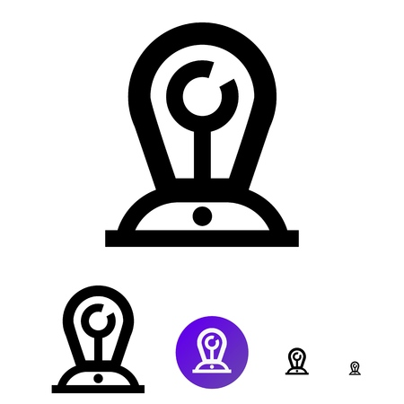 Slogan manufacturer icon  for business, e-commerce. Vector line lamp with button icon of different sizes 192px, 108px, 48px, 24px for web design and design of mobile applications.