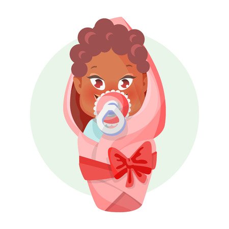 Baby with pacifier. Newborn girl is wrapped in a diaper. Vector illustration with cartoon style. Stock Photo