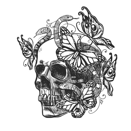 Teschio con motivi, farfalle e serpenti. Illustrazione vettoriale in stile grunge per evento tatuaggio o Messico.