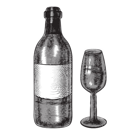 bottle of wine and a glass. vector vintage illustration in engraving style