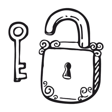 Key and lock are hand drawn icon. Vector illustration in sketch style.
