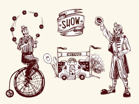 Cyrk ilustracja z żonglerem, zabawnym klaunem i kasą z balonami. Ilustracja wektorowa w stylu szkicu i vintage.