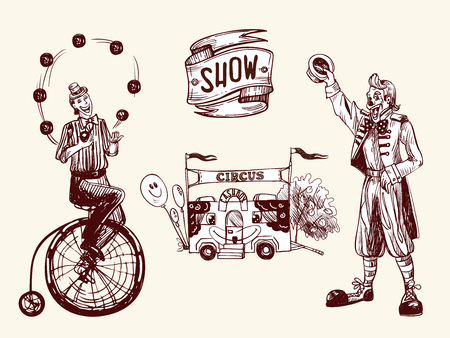Illustration de cirque avec jongleur, clown drôle et caisse avec des ballons. Illustration vectorielle en croquis et style vintage.