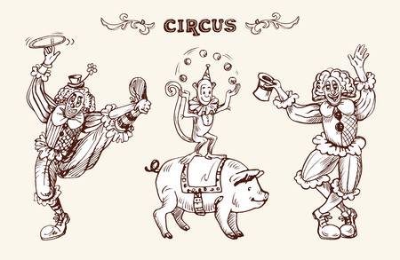 Circus illustration with clowns, a juggling monkey and a pig. Vector illustration in sketch and vintage style. Vektorové ilustrace