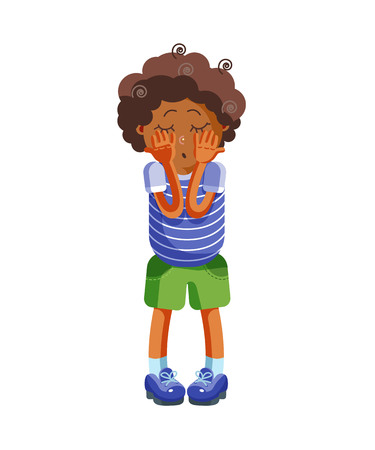 Sad boy is alone standing. Character of child. Isolated vector illustration in cartoon style.