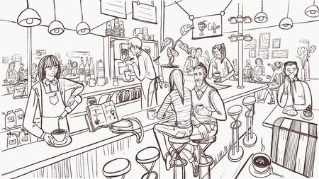 Schizzo dell'interno del caffè. I giovani sono seduti e bevono caffè al bancone del bar. Concetto di caffè moderno. Illustrazione vettoriale. Vettoriali