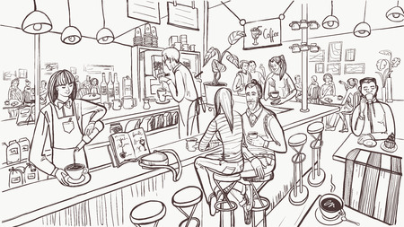 Sketch of cafe interior. Young people are sitting and drinking coffee by bar counter. Modern cafe concept. Vector illustration.