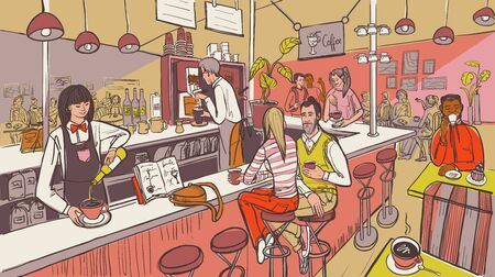Cafe interior and people. Barista and friends talking at the bar or cafeteria. Vector illustration in sketch color style.  イラスト・ベクター素材