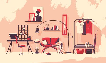 Interior of a room in scandinavian style. Modern interior with a red couch and a blanket, a workplace and an open storage system. Vector illustration in flat style.