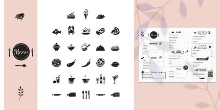 Icons set for restaurant menu. Isolated objects including salad, pizza, plate, pasta, beverages, dessert. Vector symbols in simple style Ilustrace