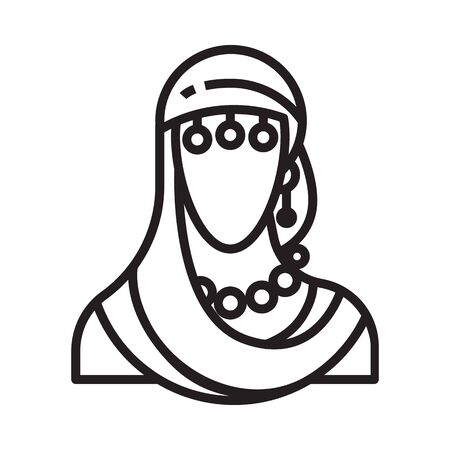 Fortune teller icon in line and pixel perfect style. Indian woman symbol for tarot cards or game web design. Magic vector icon for fortuneteller website. Isolated object on a white background.