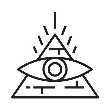 Pyramid icon in line and pixel perfect style. Mystical symbol with eye for tarot cards or game web design. Magic vector icon for fortuneteller website. Isolated object on a white background.