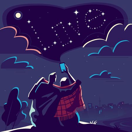 Love story of young guy and girl . Romantic relationship of friends. Night rendezvous in the park. Girl photographs the starry sky .Vector illustration in flat style for Valentine's day holiday or for greeting card . Foto de archivo - 138300166
