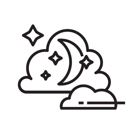 Night icon in line and pixel perfect style. Symbol with crescent, stars, clouds for tarot cards or game web design. Magic vector icon for fortuneteller website. Isolated object on a white background.