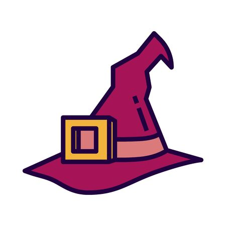 Witch hat icon in flate stile and pixel perfect technique. Hat sign for taro cards or game web design. Mystery vector symbol for fortune tellers website. Isolated purple object on white background.