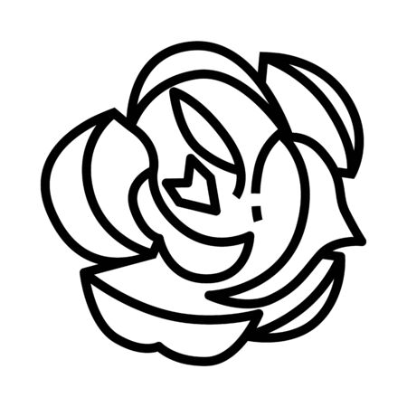 Rose icon in line style and pixel perfect technique. Flower sign for taro cards or game web design. Mystery vector symbol for fortune tellers website. Isolated object on white background.