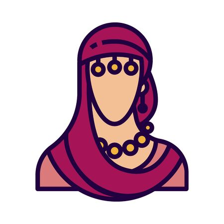 Fortune teller icon in flat and pixel perfect style. Indian woman symbol for tarot cards or game web design. Magic vector icon for fortuneteller website. Isolated color object on a white background. Vettoriali
