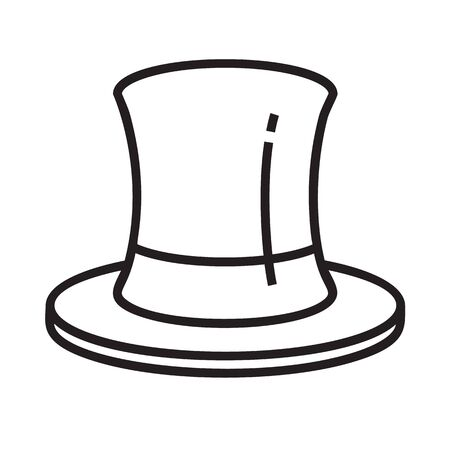 Cylinder icon in line and pixel perfect style. Hat sign for game web design. Magic vector icon for website. Isolated object on a white background.  イラスト・ベクター素材